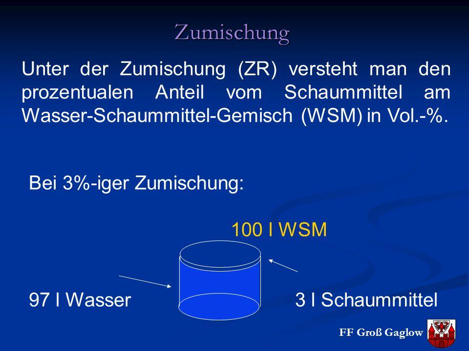 Zumischung Unter der Zumischung (ZR) versteht man den prozentualen Anteil vom Schaummittel am Wasser-Schaummittel-Gemisch (WSM) in Vol.-%.