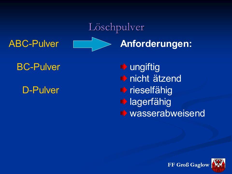 Löschpulver ABC-Pulver BC-Pulver D-Pulver Anforderungen: ungiftig