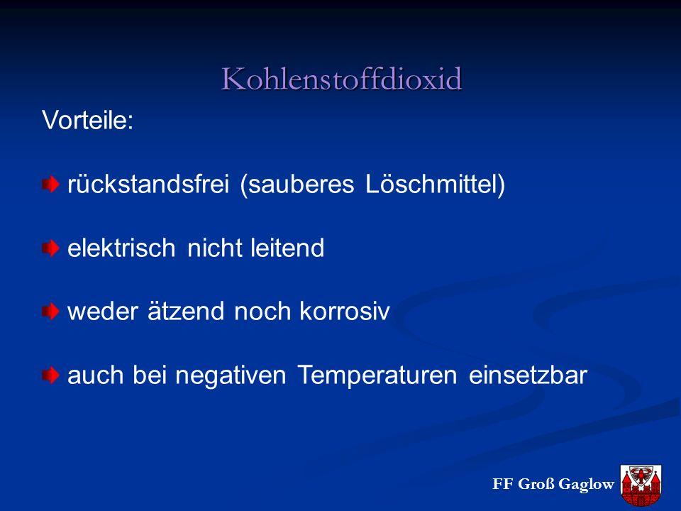 Kohlenstoffdioxid Vorteile: rückstandsfrei (sauberes Löschmittel)