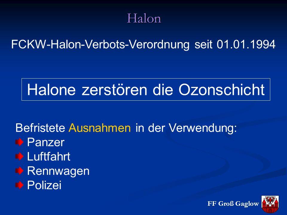 Halone zerstören die Ozonschicht