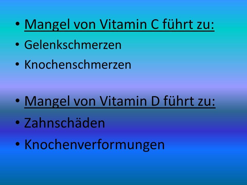 Mangel von Vitamin C führt zu: