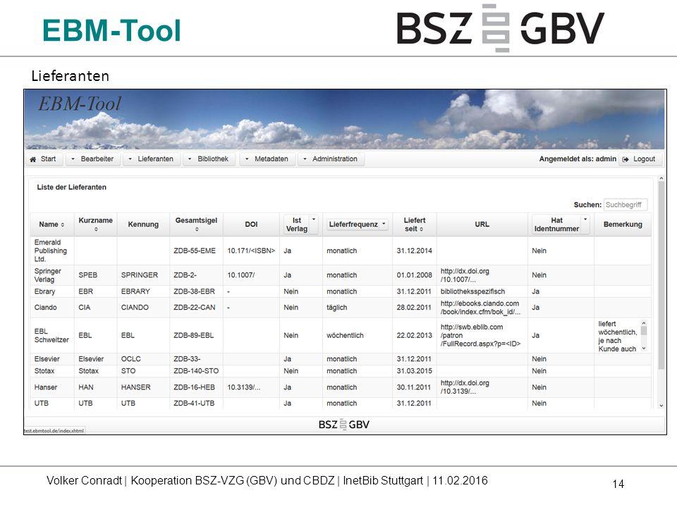 EBM-Tool Lieferanten.