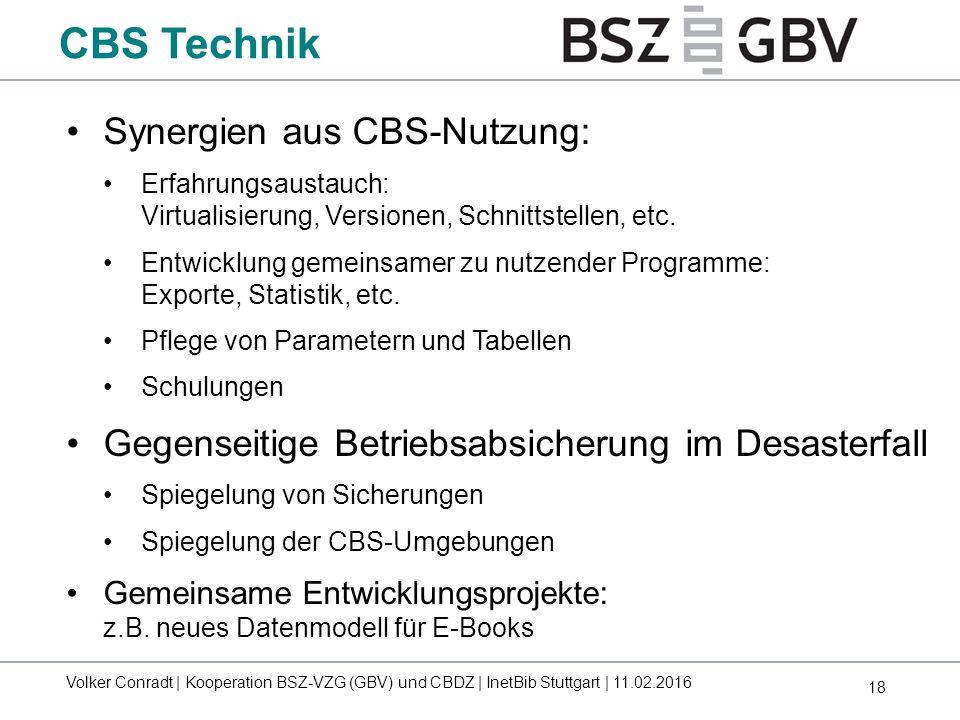 CBS Technik Synergien aus CBS-Nutzung: