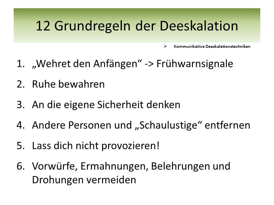 12 Grundregeln der Deeskalation