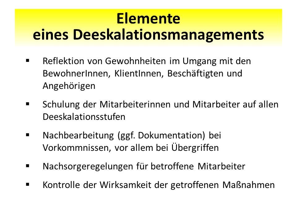 Elemente eines Deeskalationsmanagements