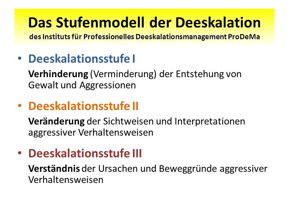 Das Stufenmodell der Deeskalation des Instituts für Professionelles Deeskalationsmanagement ProDeMa