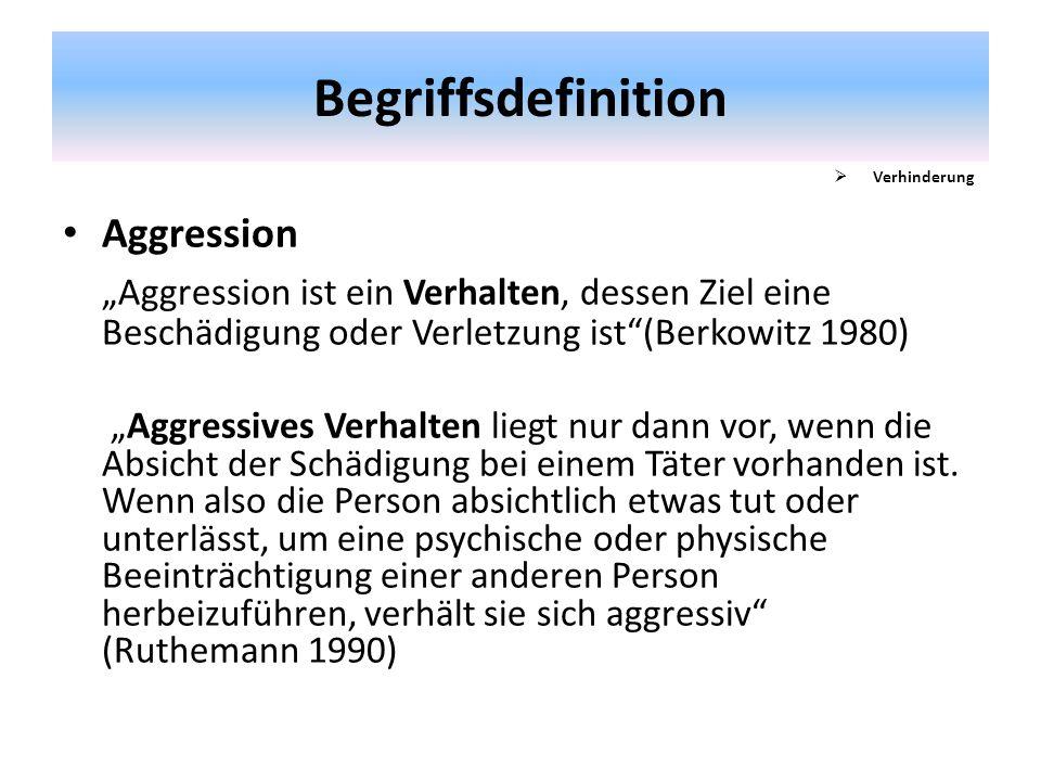 """Begriffsdefinition Verhinderung. Aggression. """"Aggression ist ein Verhalten, dessen Ziel eine Beschädigung oder Verletzung ist (Berkowitz 1980)"""