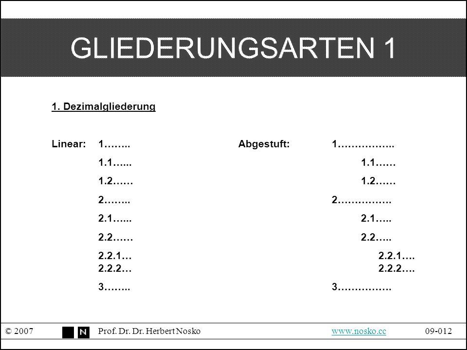 GLIEDERUNGSARTEN 1 1. Dezimalgliederung