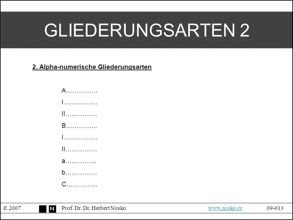 GLIEDERUNGSARTEN 2 2. Alpha-numerische Gliederungsarten A…………… I…………….