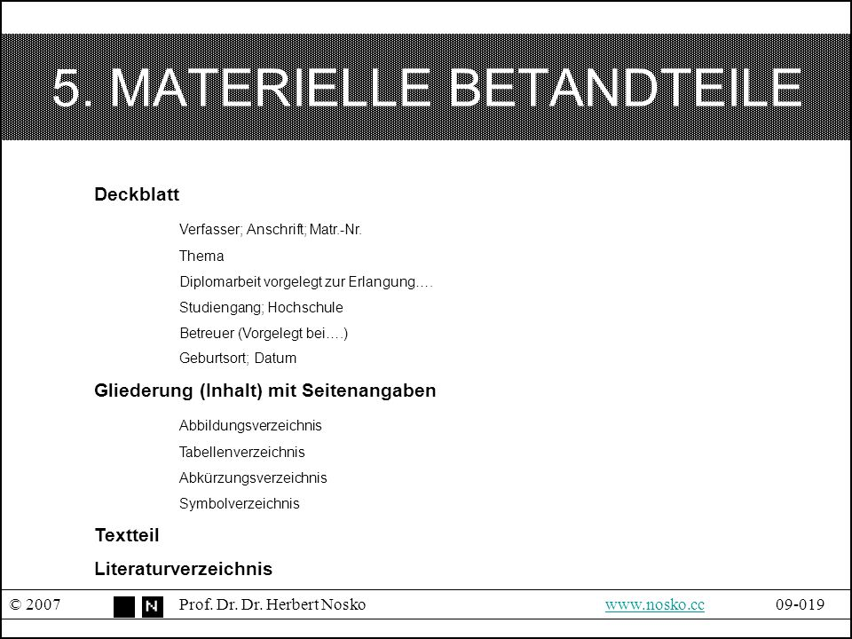 5. MATERIELLE BETANDTEILE