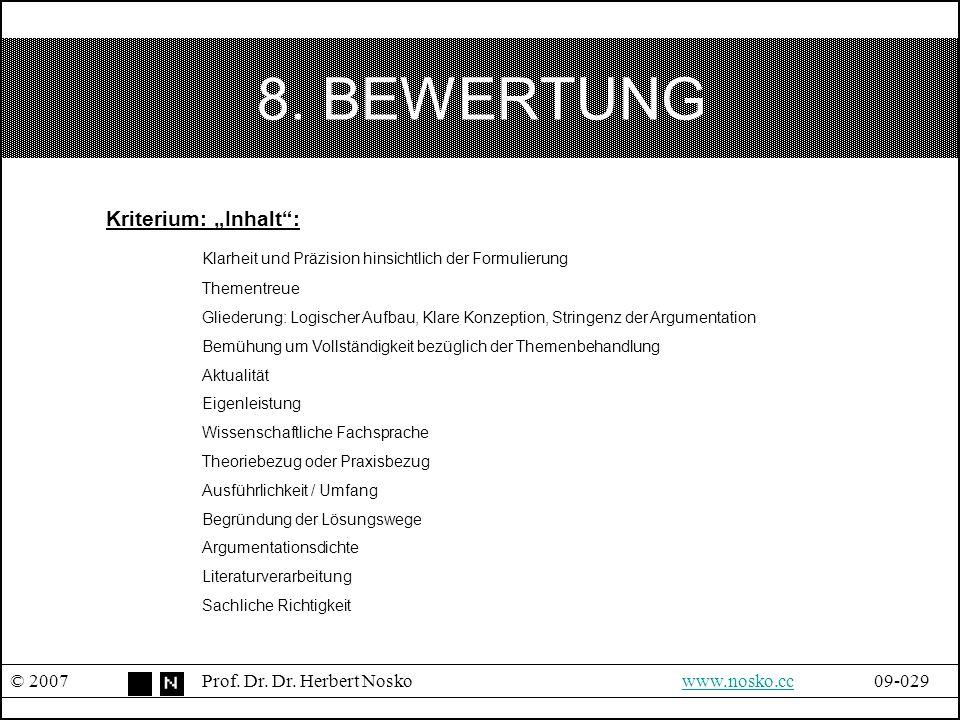 """8. BEWERTUNG Kriterium: """"Inhalt :"""