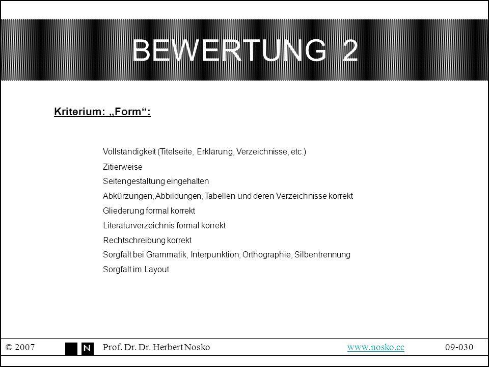 """BEWERTUNG 2 Kriterium: """"Form :"""