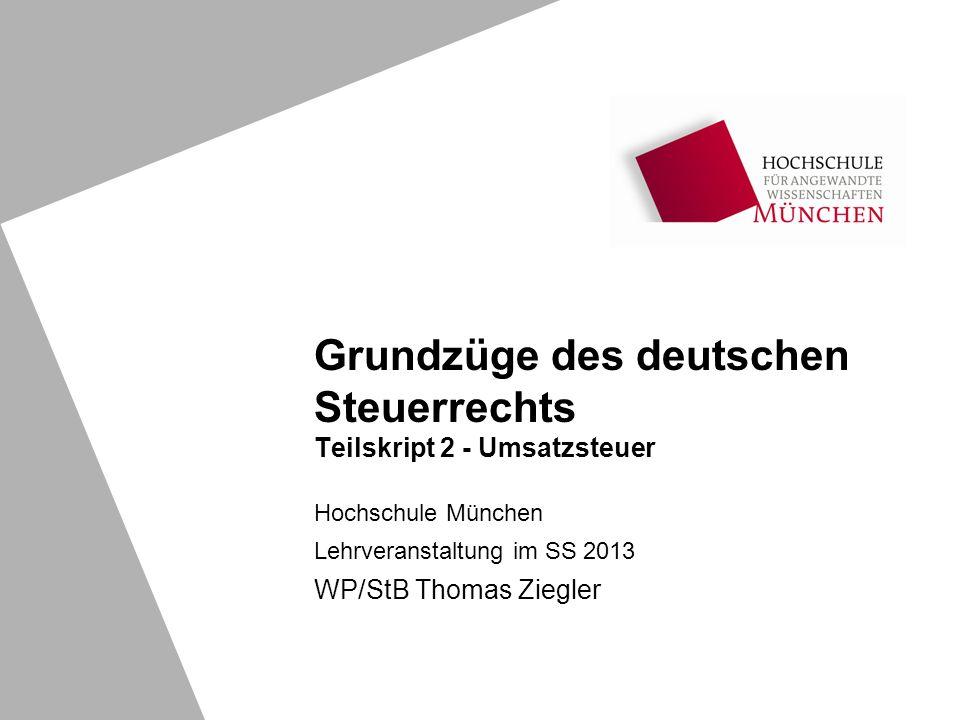 Grundzüge des deutschen Steuerrechts Teilskript 2 - Umsatzsteuer