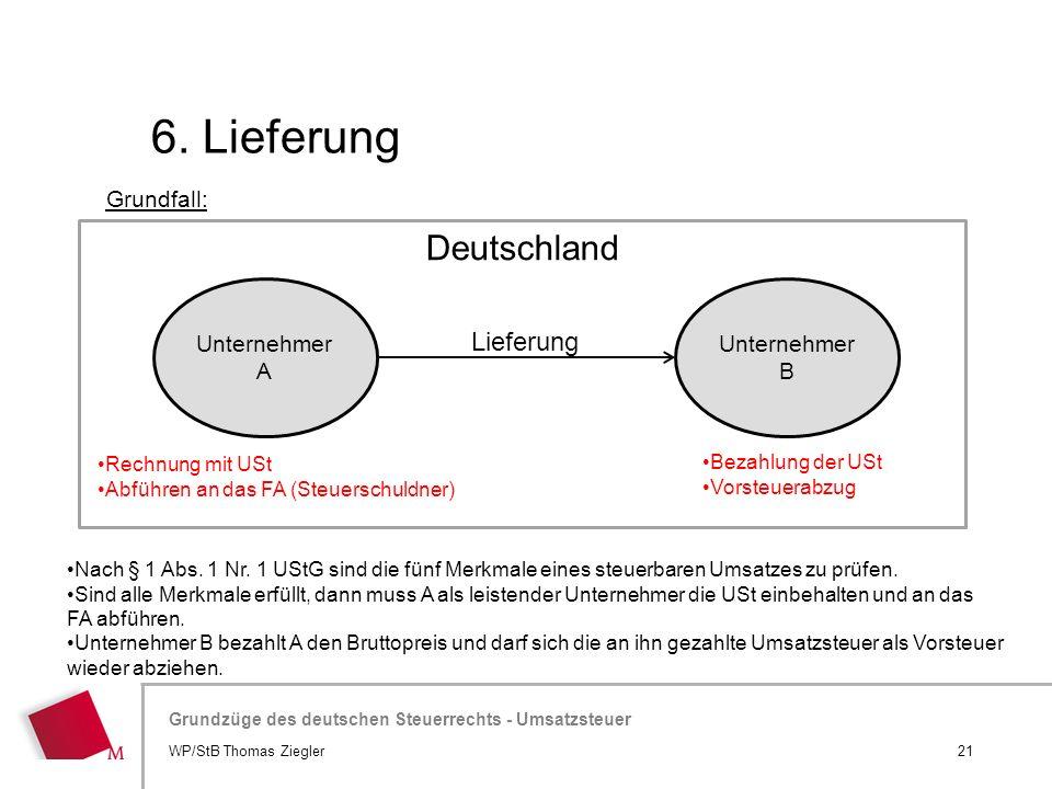 6. Lieferung Deutschland Lieferung Grundfall: Unternehmer A