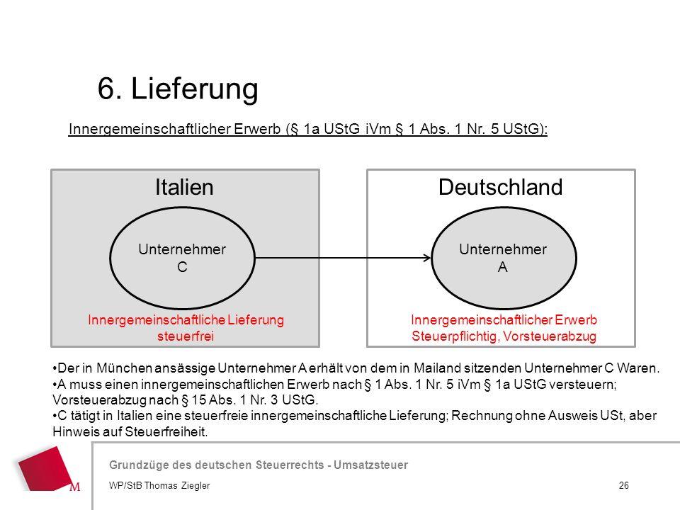 6. Lieferung Italien Deutschland