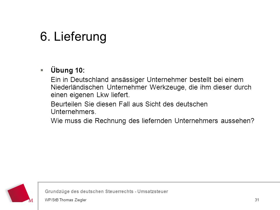 6. Lieferung Übung 10: