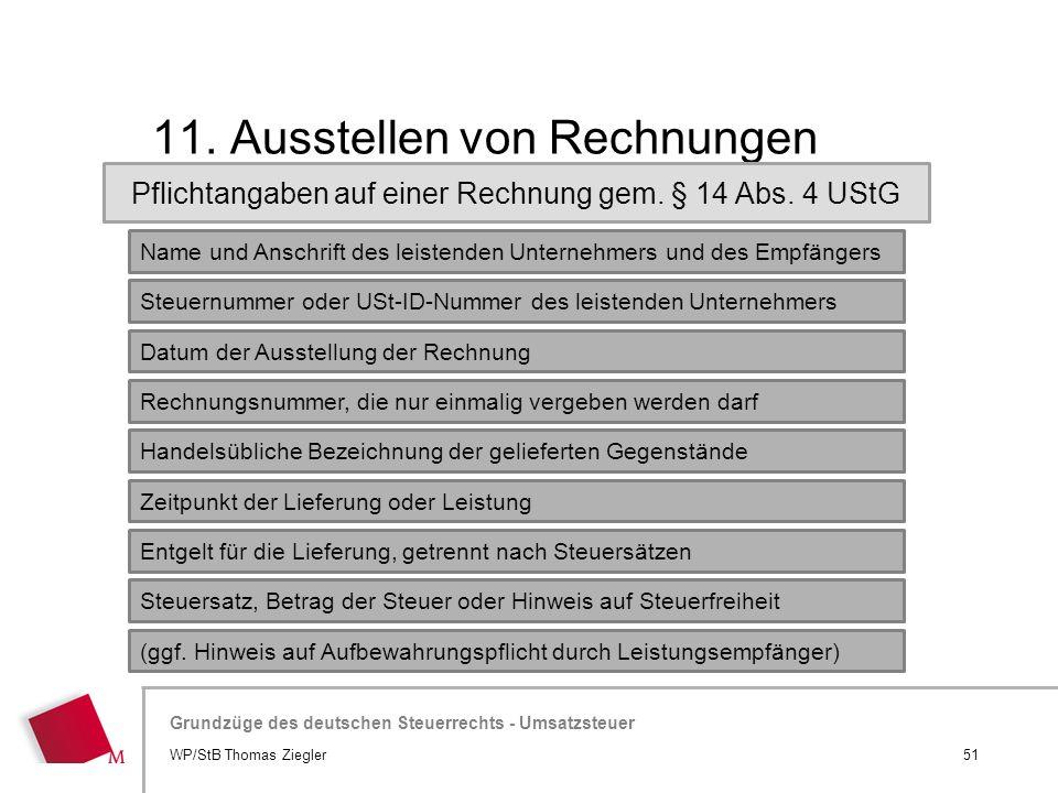 11. Ausstellen von Rechnungen