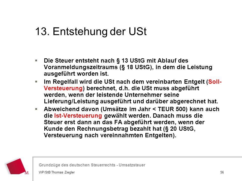 13. Entstehung der USt