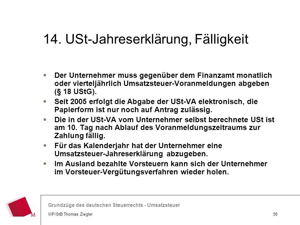 14. USt-Jahreserklärung, Fälligkeit