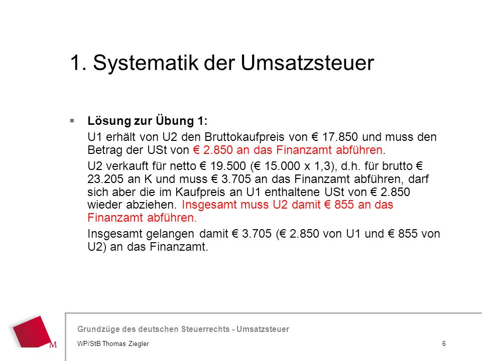 1. Systematik der Umsatzsteuer