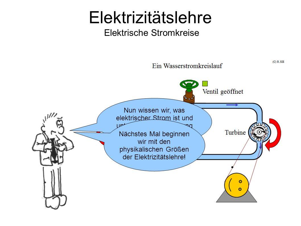 Elektrizitätslehre Elektrische Stromkreise Nun wissen wir, was