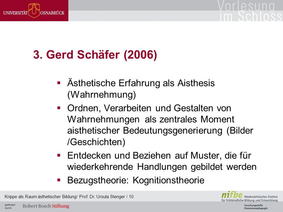 3. Gerd Schäfer (2006) Ästhetische Erfahrung als Aisthesis (Wahrnehmung)