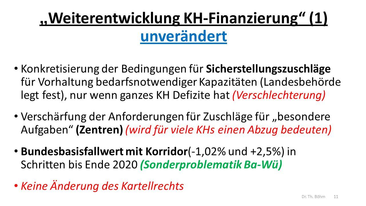 """""""Weiterentwicklung KH-Finanzierung (1) unverändert"""