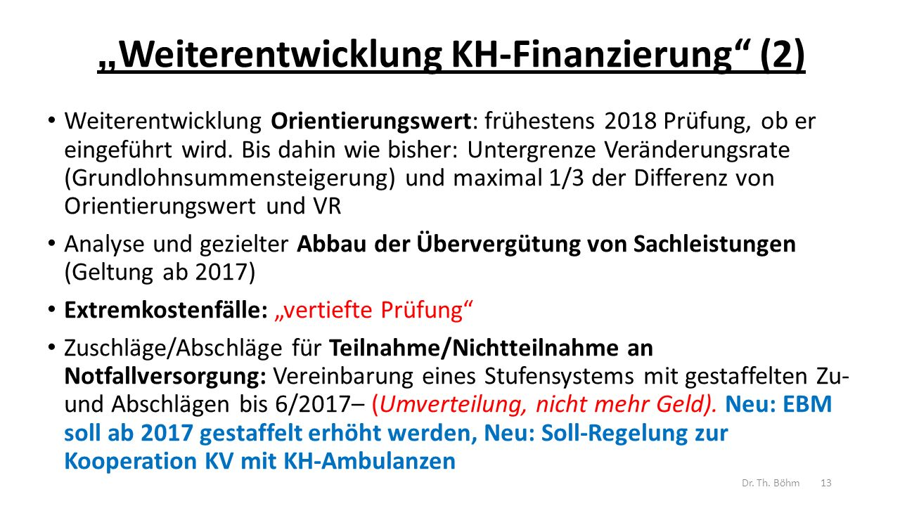 """""""Weiterentwicklung KH-Finanzierung (2)"""