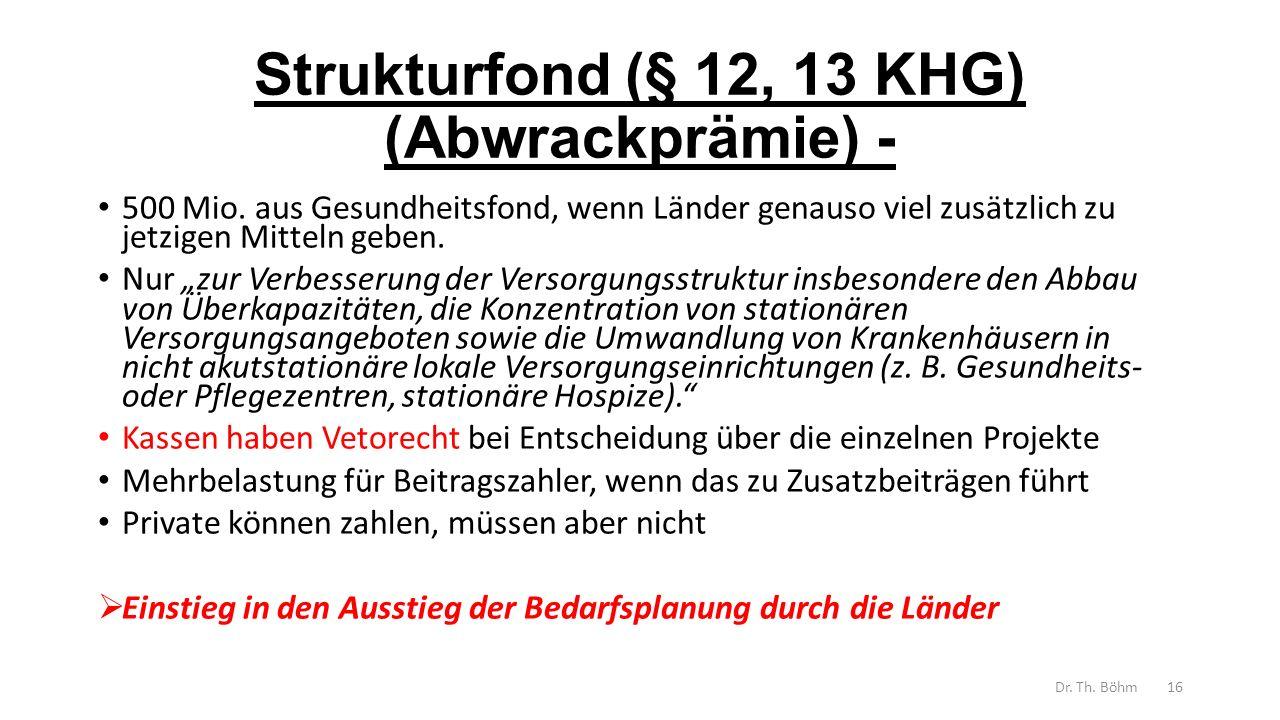 Strukturfond (§ 12, 13 KHG) (Abwrackprämie) -