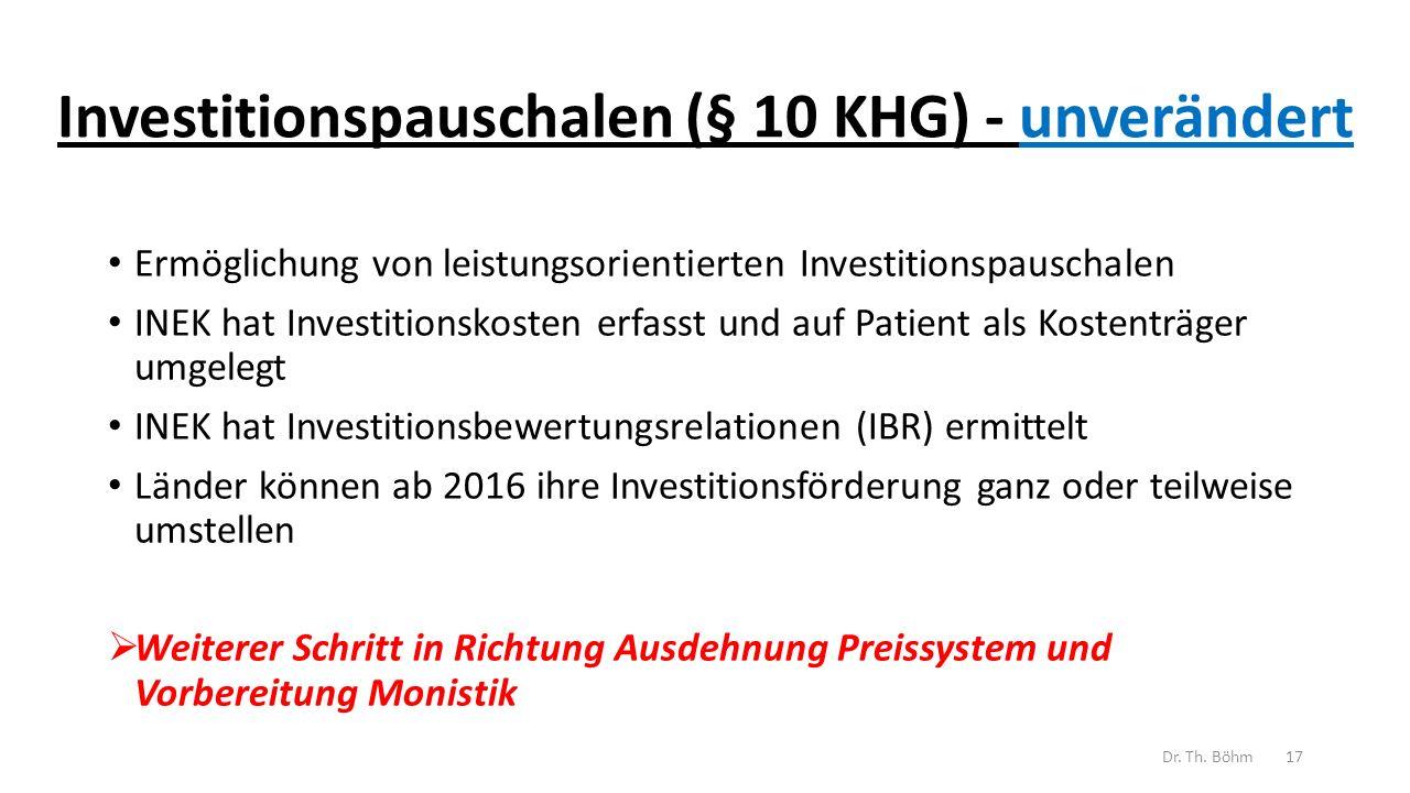 Investitionspauschalen (§ 10 KHG) - unverändert
