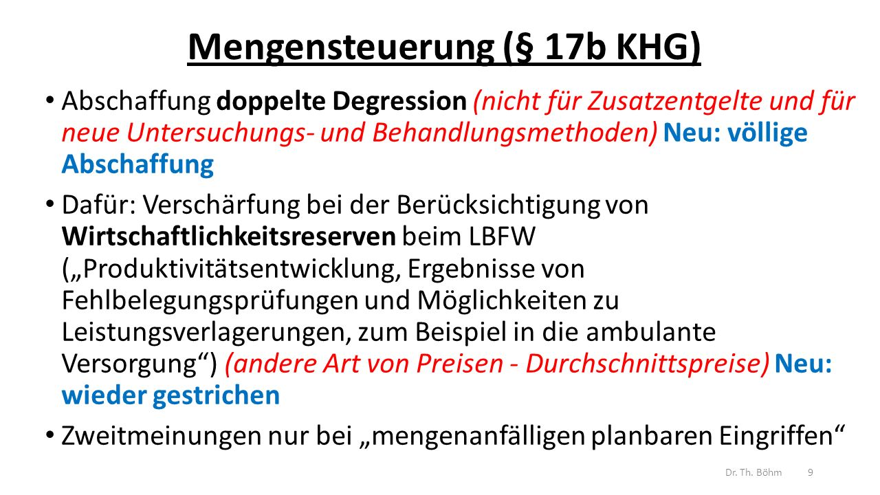 Mengensteuerung (§ 17b KHG)