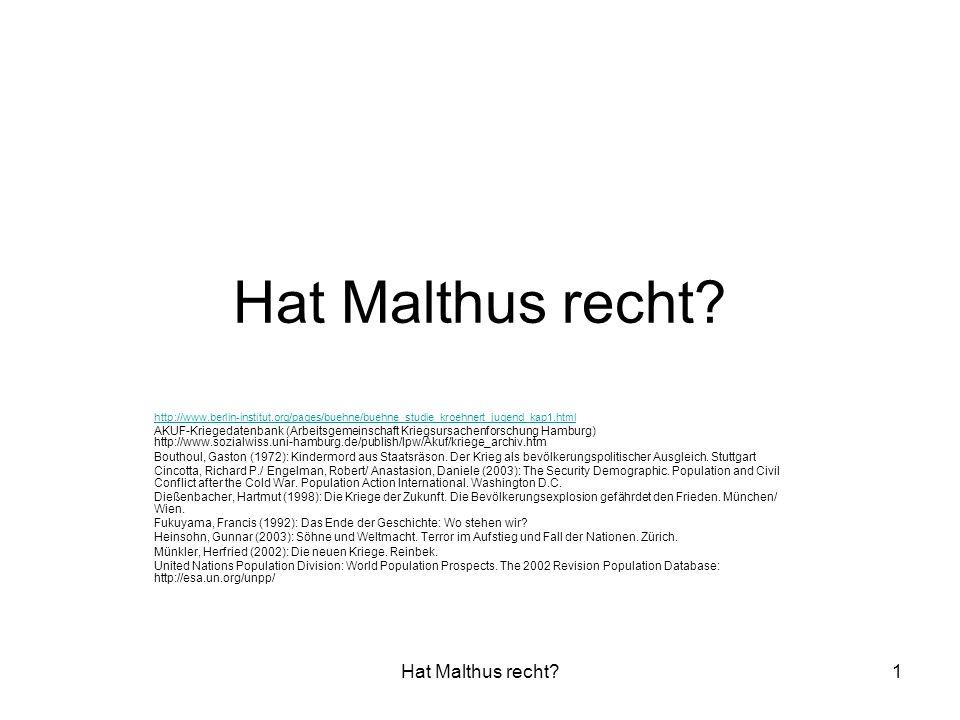 Hat Malthus recht Hat Malthus recht
