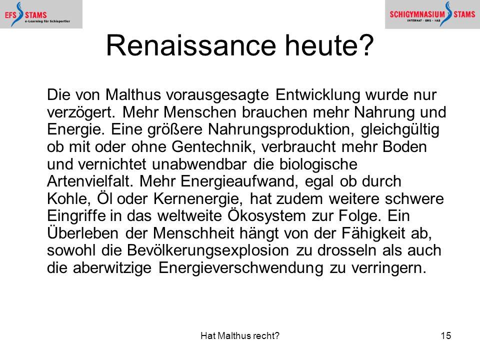 Renaissance heute