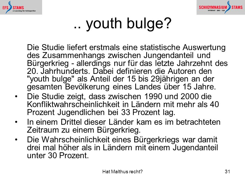 .. youth bulge