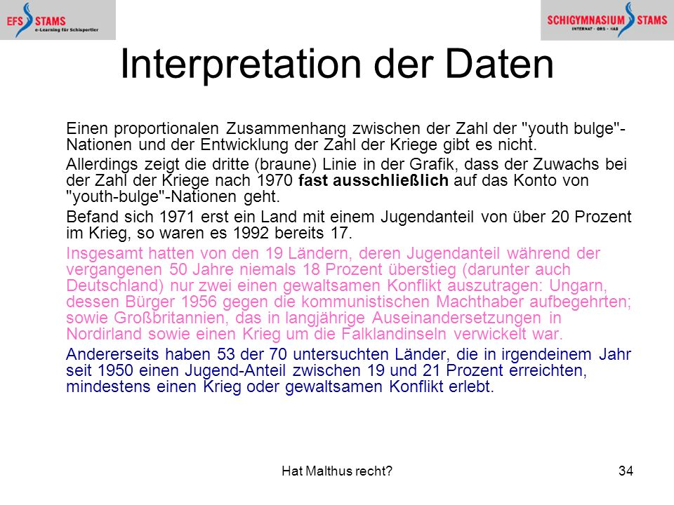 Interpretation der Daten