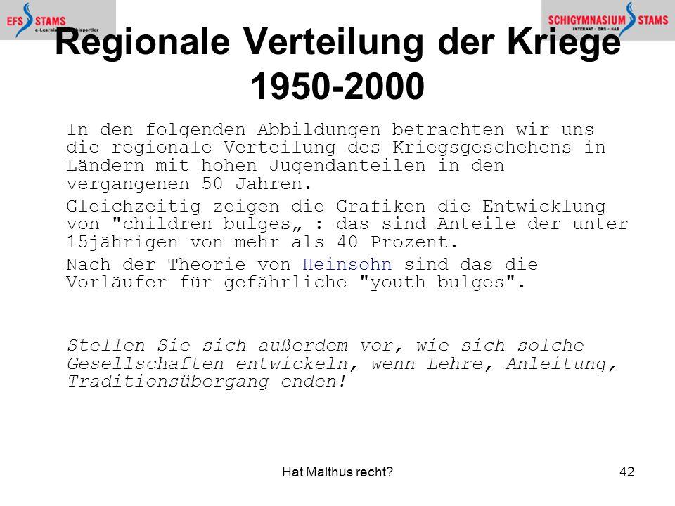 Regionale Verteilung der Kriege 1950-2000