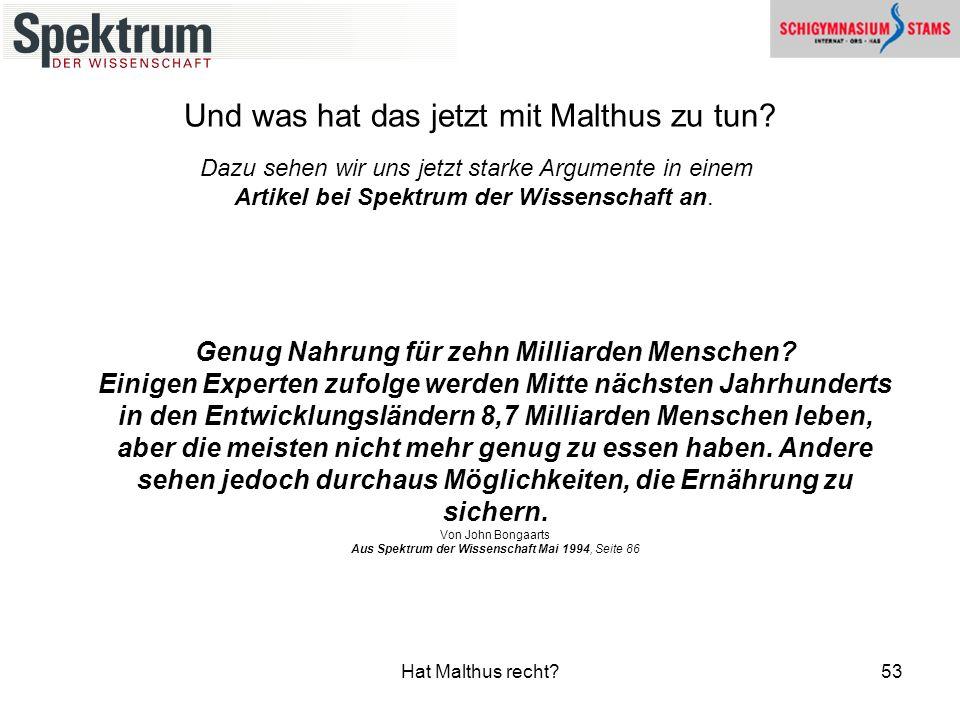 Und was hat das jetzt mit Malthus zu tun
