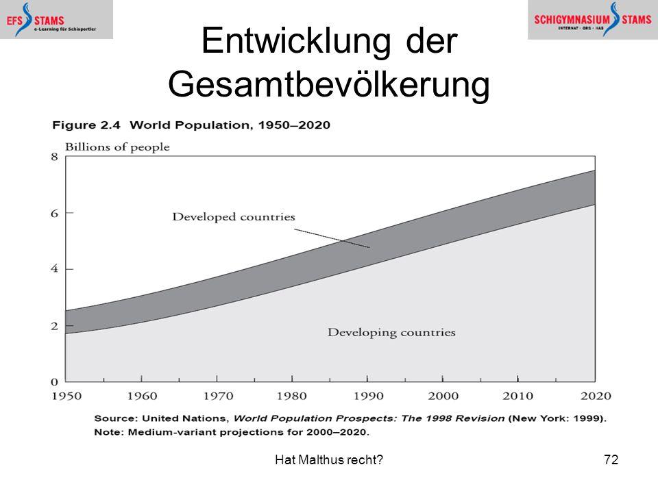 Entwicklung der Gesamtbevölkerung