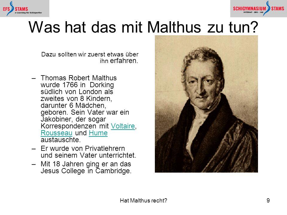 Was hat das mit Malthus zu tun