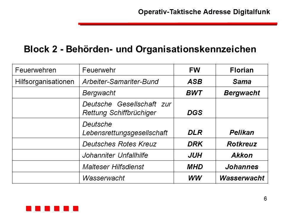 Block 2 - Behörden- und Organisationskennzeichen