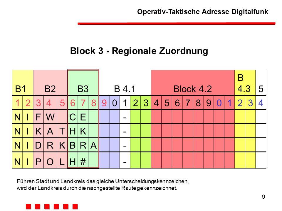 Block 3 - Regionale Zuordnung