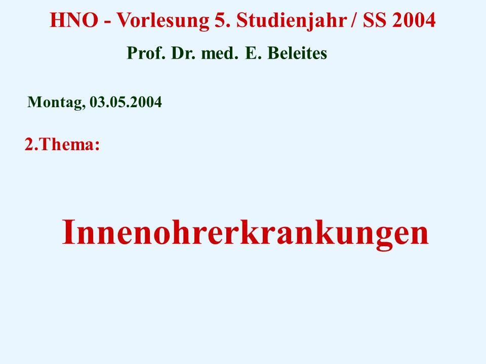 HNO - Vorlesung 5. Studienjahr / SS 2004 Innenohrerkrankungen