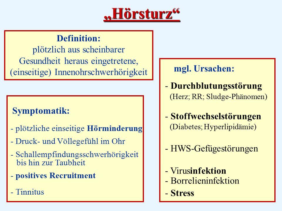 """""""Hörsturz Definition: plötzlich aus scheinbarer Gesundheit heraus eingetretene, (einseitige) Innenohrschwerhörigkeit."""