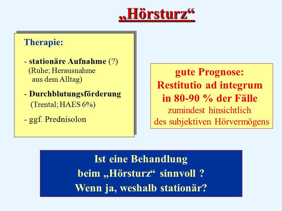 """""""Hörsturz Therapie: - stationäre Aufnahme ( ) (Ruhe; Herausnahme aus dem Alltag) - Durchblutungsförderung (Trental; HAES 6%)"""