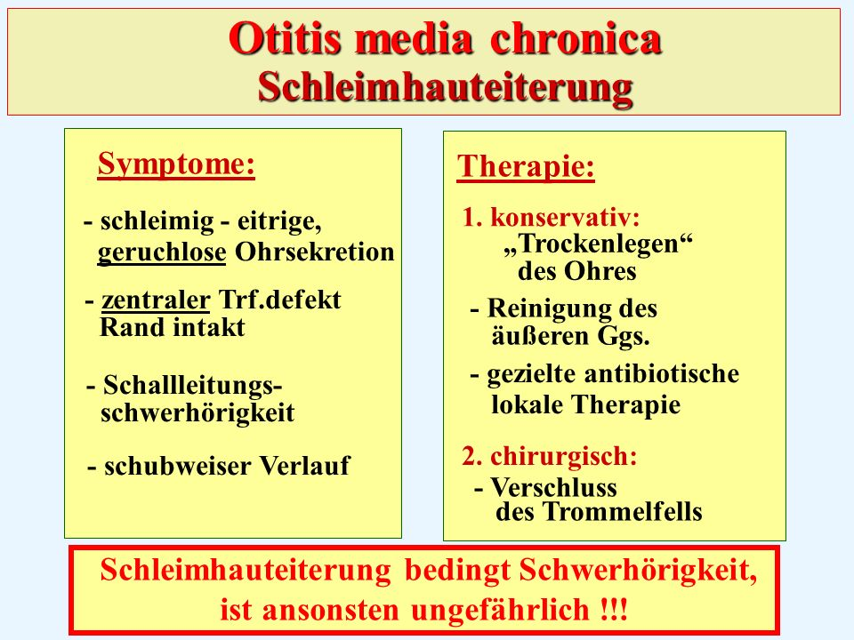 Otitis media chronica Schleimhauteiterung