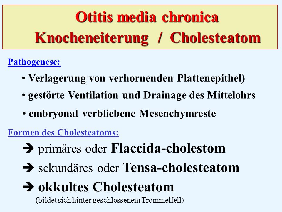 Otitis media chronica Knocheneiterung / Cholesteatom