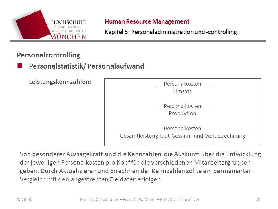 Personalstatistik/ Personalaufwand