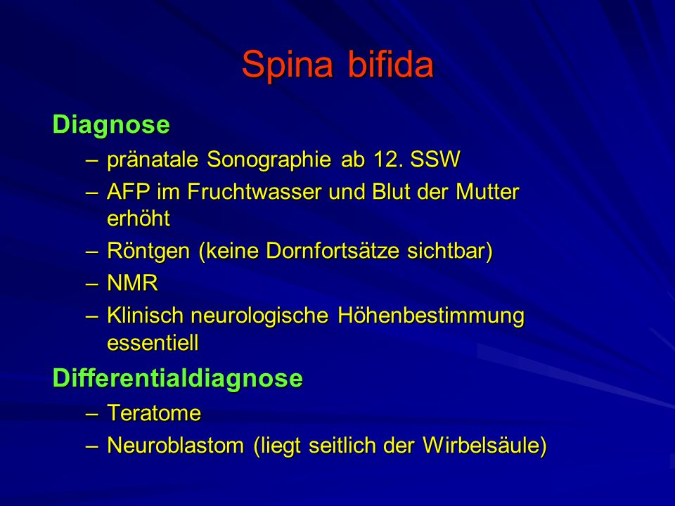 Spina bifida Diagnose Differentialdiagnose