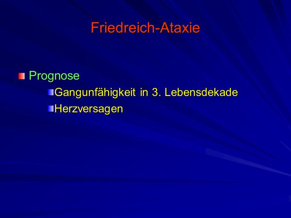 Friedreich-Ataxie Prognose Gangunfähigkeit in 3. Lebensdekade