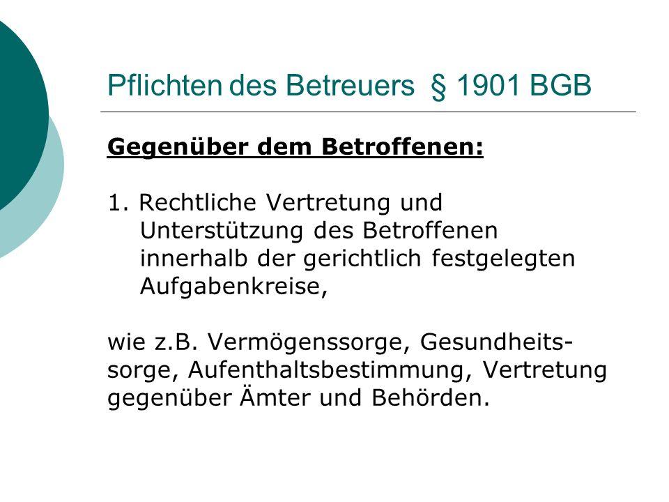 Pflichten des Betreuers § 1901 BGB
